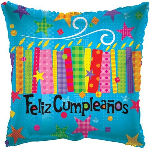 "CONVER USA Feliz Cumpleanos Candle Packaged Balloon, 18"", Multicolor"