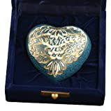 Star Legacy Brass Heart Keepsake with Velvet Box, Sky Blue Radiance