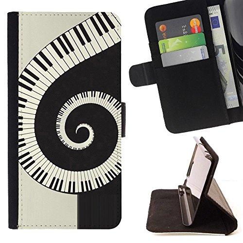 For Huawei Ascend P8 (Not for P8 Lite) Case , Musica Spiral Piano - Portafoglio in pelle della Carta di Credito fessure PU Holster Cover in pelle case