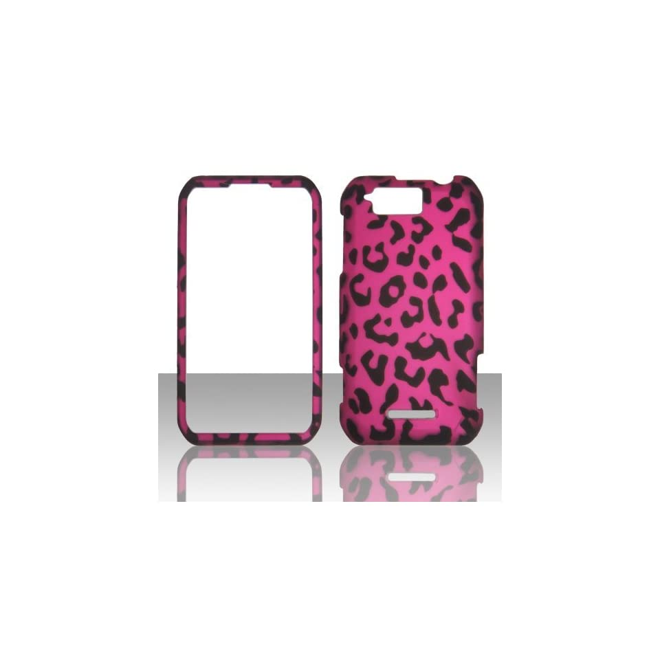 IMAGITOUCH(TM) 4 Item Combo For MOTOROLA Photon Q XT897 Hot Pink Black Leopard Skin Snap On Hard Case Phone Cover (Anti Glare Screen Protector, Stylus Pen, Pry Tool, Phone Cover)