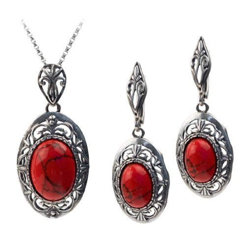 Sterling Silver Imitation Red Turquoise Filigree Oval Earrings Pendant Set Rolo Chain 18 Inches