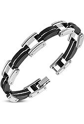 Stainless Steel w/ Black Rubber Geometric Mens Link Bracelet