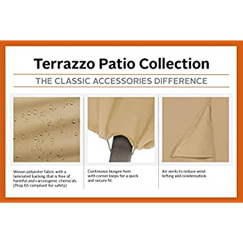 Classic Accessories Terrazzo Round Patio Table Cover - All Weather Protection Outdoor Furniture Cover (58202-EC)