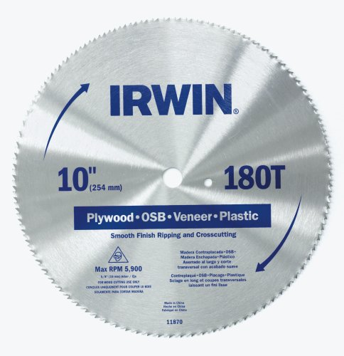 Irwin 11870 10-Inch 180 Tooth TCG Plywood, OSB, Veneer, and Plastic Cutting Saw Blade with 5/8-Inch Arbor