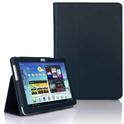 Hostey ® Samsung P5100 P5110 Tasche Hülle Schutzhülle Case Cover for Samsung Galaxy Tab 2 10.1 P5100 P5110 mit Ständer(PU Leder)++ Displayschutzfolie (Bio Pu Leder) (Blau/BlueII)