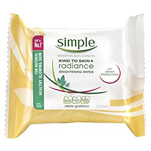 Simple Kind to Skin+ Radiance Brightening Cleansing Wipes - 25 Pieces