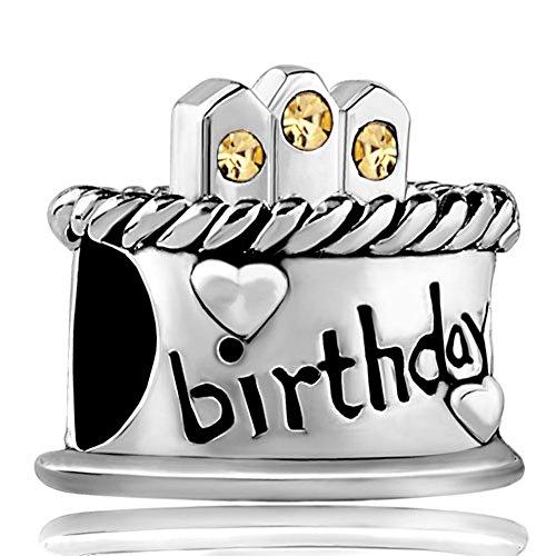 LovelyJewelry November Birthstone Birthday Cake Yellow Candles Gift Holiday Beads Fits Pandora Charm Bracelet (November Birthstone)