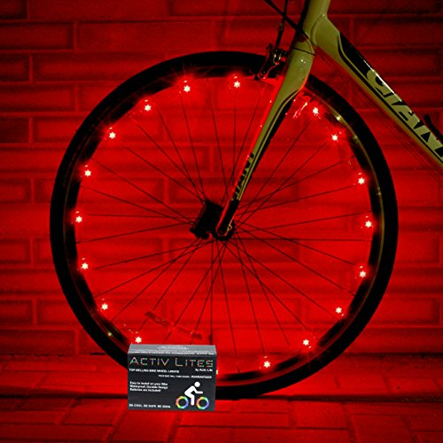 Super Cool Red LED Bike Wheel Lights Set - Get Bright Bicycle Rims & Spokes - More Visibility Than Just Front and Back Lighting - Fast Easy Install - Batteries Included - 100% (Road Bike Frame Set compare prices)