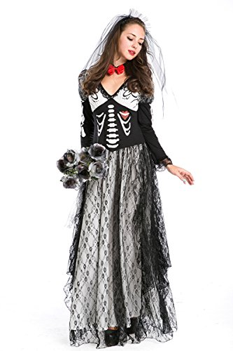 ReliBeauty Women's Skeleton Print Corpse Bride Maxi Dress Halloween Costume