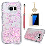 S7 Edge Case,Samsung Galaxy S7 Edge Case - Flowing Liquid Floating Bling Glitter Sparkle Pink Love Hearts Hard PC Cover Cute Creative Design with Stylus Pen Dust Plug HD Screen Protector by Badalink