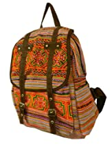 BTP! Hmong Bag Backpack / Ethnic Purse / Embroidered bag/ Hill Tribe / Hippie Orange Bags BPW2