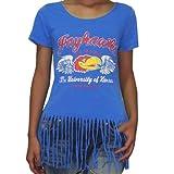 Womens NCAA Kansas Jayhawks Crew-Neck T-Shirt with Fringe
