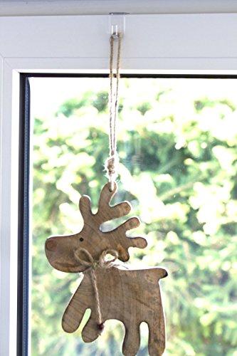 Crochet de la fenêtre, crochet décoration, blanc - 20-Set, 35 x 20 mm
