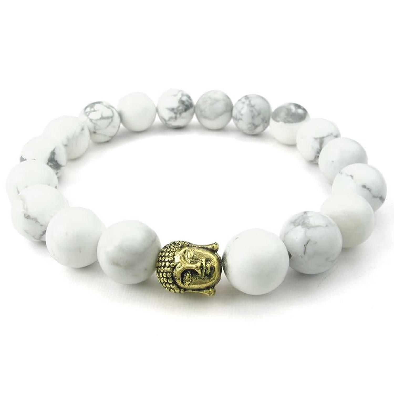 KONOV Howlite Turquoise Mens Womens Bracelet, Energy Bead, Buddha Mala, White Gold