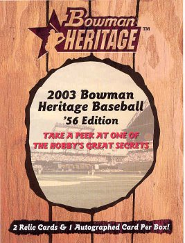 2003 BOWMAN HERITAGE BASEBALL CARDS HOBBY BOX