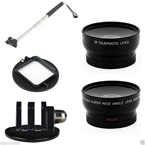 Handheld Extendable Monopod W/ Gopro Mount & Lens Kit For Hero 2 3 3+ 58Mm