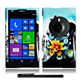 Artistic Beautiful Design Nokia Lumia 1020 Elvis (AT&T / Microsoft Windows Phone 8) Hard Protector Cover Case + Bonus Long Arch 5.5 Baby Blue Screen Cleaning Cloth + Bonus 4 Metallic Black Capacitive Stylus Pen (Butterfly Yellow Lily Blue Splash)