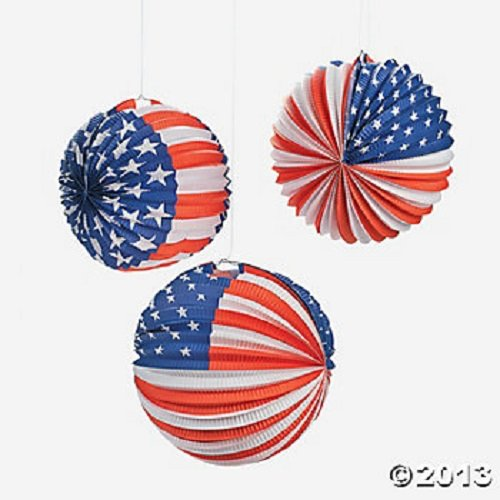 Set of 6 Patriotic Paper Balloon Lanterns USA July 4th Party Decoration