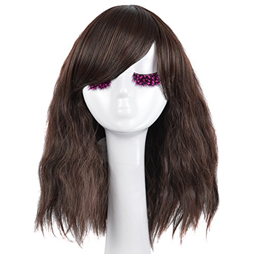 [SiYi Fashion Medium Afro Women Brown Wigs Natural Hair With Bangs Cosplay Party Wig] (Best Womens Comic Con Costumes)