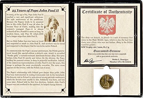 2003 PL 2 zlotych Pope John Paul II Coin Commemorating His 25-Year Anniversary with Album & Certificate 2 zlotyc Brilliant Uncirculated (Pope John Paul Ii Coin compare prices)