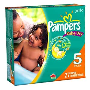 Pampers Baby Dry Diapers, Jumbo Pack, Size 5, 27 Count (Pack of 4)