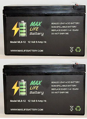 12V 9Ah Sealed Lead Acid Battery For Emergency Lighting Equipment And Atvs - 2 Pack