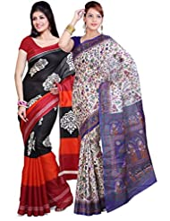 AISHA Printed Fashion Machine Art Silk Multicolor Sari (Pack Of 2) - B00TYAJQP2