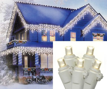 Set Of 70 Warm Clear Led Wide Angle Icicle Christmas Lights - White Wire
