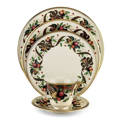 Buy Lenox Holiday Tartan Gold Banded Ivory China 20-Piece Dinnerware Set, Service for 4