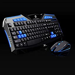 Elevin(TM)Gaming wireless 2.4G keyboard and Mouse + NANO USB Signal Receiver Set to Computer Multimedia Gamer Blue