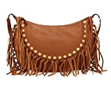 Valentino C-Rockee Studded Fringe Hobo Bag in Brown Leather Handbag Purse GWB00716 A06
