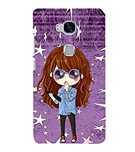 Cute Girl with Specs 3D Hard Polycarbonate Designer Back Case Cover for Huawei Honor 5X :: Huawei Honor X5 :: Huawei Honor GR5