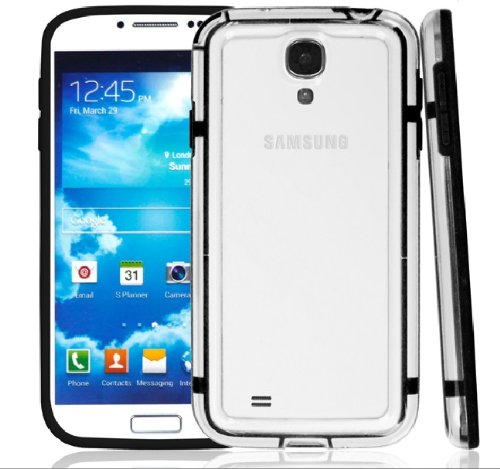 Black Soft+hard Transparent Frame Bumper For Samsung Galaxy S4 I9500
