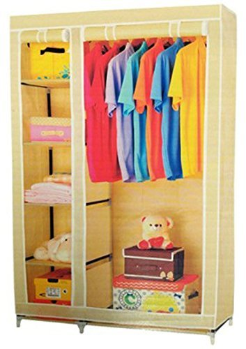 Everything Imported 3.5 Feet Folding Wardrobe Cupboard Almirah Foldable Storage Rack Collapsible Cabinet  available at amazon for Rs.1499