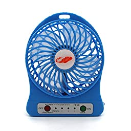 Portable ReFeng Rechargeable Mini Fan 4 Vanes Pocket Size Powered By 18650 Battery(Blue)