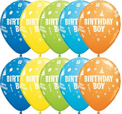 10x, sortiert, Birthday Boy, Kuchen, Kerzen, Hüte & Dampfgarer, Party Luftballons-27,9cm