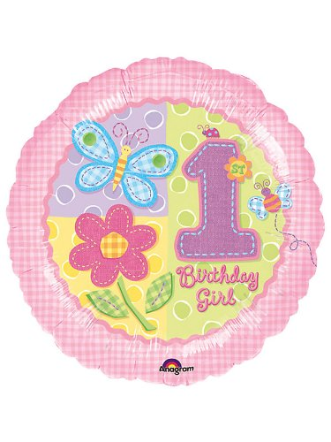 Mayflower Distributing Unisex Adult Hugs & Stitches Girl's 1st Birthday Foil Balloon Black Medium
