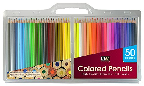 Art Advantage Colored Pencils - 50 Colors - Soft Lead - High Quality Pigments - With Plastic Carrying Case