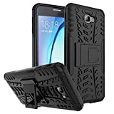 #3: Kaira Hard Armor Hybrid Rubber Bumper Flip Stand Rugged Back Case Cover for Samsung Galaxy J7 Prime (Black)