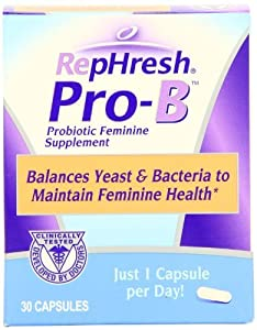 RepHresh Pro-B Probiotic Feminine Supplement Capsules, Pack of 3