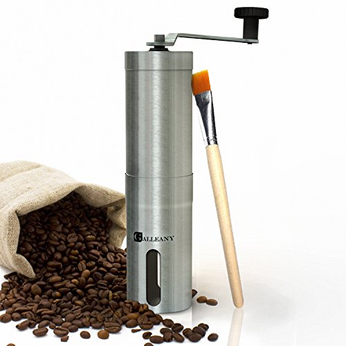 Galleany Manual Ceramic Coffee Grinder - Best Adjustable Conical Ceramic Burr - Hand Coffee Mill Stainless Steel- Aeropress Compatible
