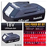 MAKITA 18V LITHIUM BATTERY BL1813G FOR USE ON HP457 COMBI DRILL AND TD127 IMPACT DRILLS COMPLETE WITH FREE 25 PIECE POWER BIT SET