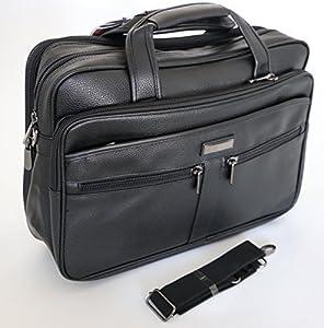 """globehopper 15.6"""" Black Laptop Briefcase Messenger Bag with Shoulder Strap & Carry Handles, Leather Feel"""