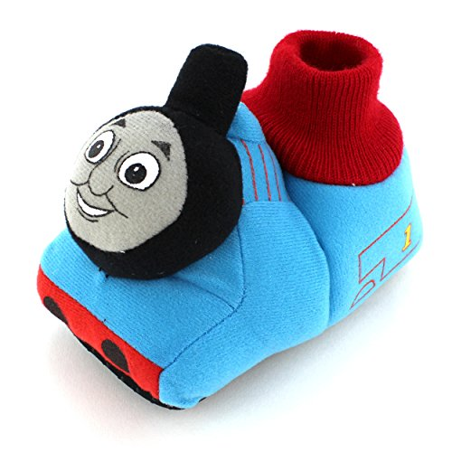 "Thomas & Friends ""#1 Engine"" Blue Infant Toddler Sock Top Slippers (7/8) front-969367"