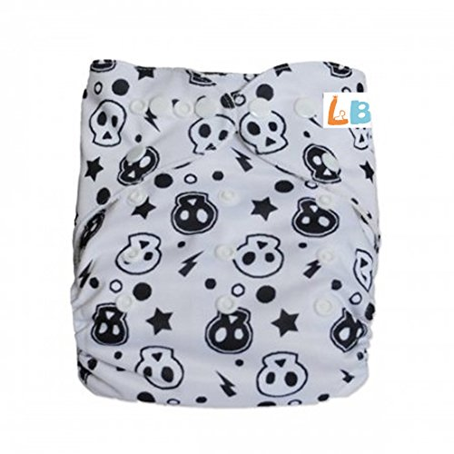 LBB(TM) Baby Resuable Washable Cloth Pocket Diaper,White Skulls
