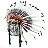 Fair trade Indian headdress with white feathers and grey tips