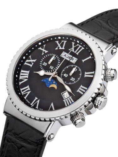 Urs Auer  Watches special price: U.Auer Midnight Black AU-711-SBL Mens Chronograph SWISS ISA