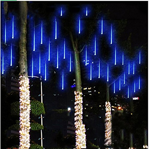 String Lights,Paragala Waterproof Falling Rain Fairy Lights With 144 LED 8 Tubes Meteor Shower Rain LED Christmas Lights for Wedding Party Xmas Tree Indoor Outdoor Patio Decoration (30cm, Blue) (Christmas Lights Icicles Led compare prices)
