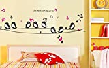 StickersKart Wall Stickers Cute Singing Birds (Multi-Colour, 160cm x 58cm)-8210