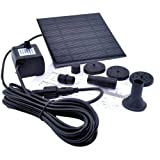 AmoVee 1.2 Watt Solar Power Water Pump Garden Fountain - With Separate Solar Panel and 3.3m Long Cable